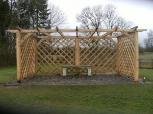 Custom green oak pergola