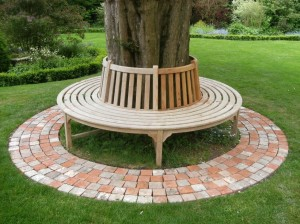 Custom tree seat & brick halves paving